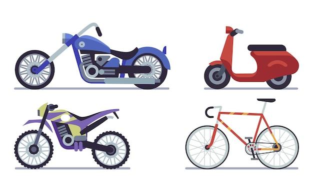 Set di moto. illustrazione vettoriale di bicicletta, scooter, bici da cross e chopper su sfondo bianco insieme vettoriale