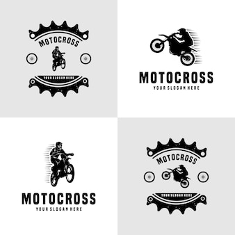 Set di modello di progettazione del logo vettoriale di motocross