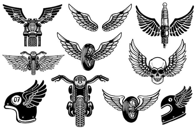 Insieme di elementi di design del motociclo