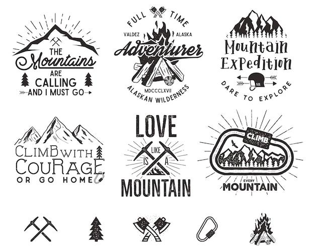 Set di etichette di alpinismo, emblemi di spedizione in montagna, loghi di sagome di escursionismo vintage ed elementi di design.