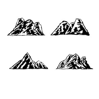 Set di illustrazioni di montagna per logo ed elemento distintivo