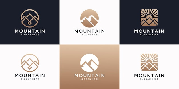 Set di modello di progettazione del logo di montagna con il concetto di lusso.