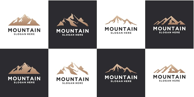 Set di modello di progettazione del logo di montagna