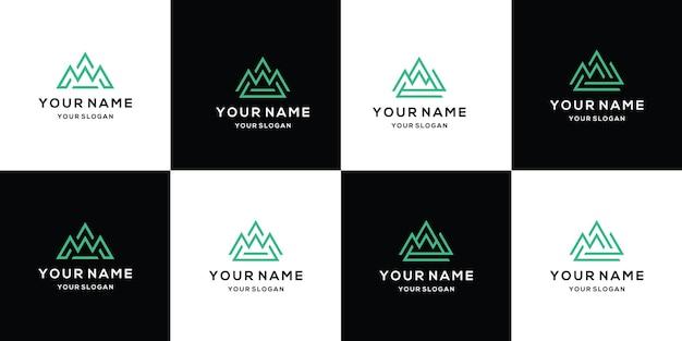 Set di modelli di design del logo di montagna utilizzando lo stile della linea artistica