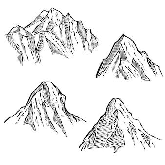 Serie di schizzi di montagna. elemento per emblema, segno, etichetta, poster. illustrazione