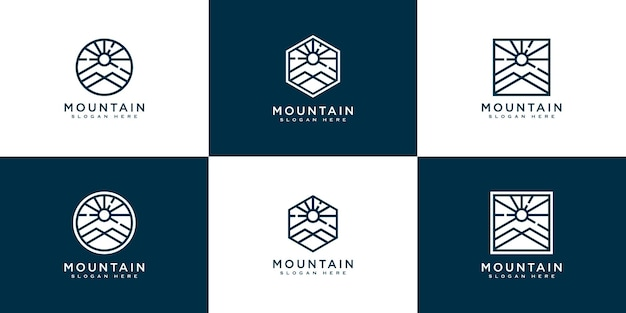 Set di montagne con design del logo della luce del sole