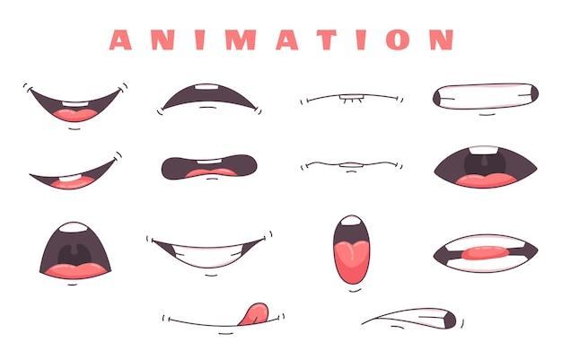 Set di animazione bocca isolato su bianco