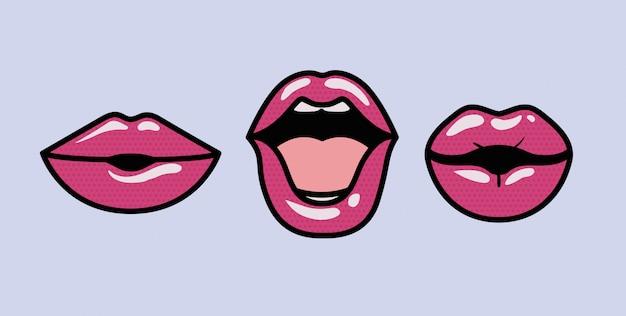 Set di bocche stili di arte pop