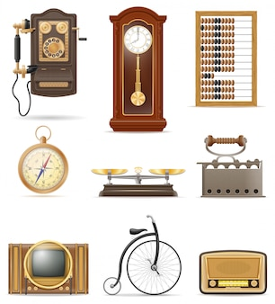 Insieme di retro illustrazione d'annata di vettore delle azione degli elementi di vecchio di molti oggetti