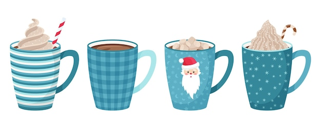 Set di tazze con caffè, tè, cacao con marshmallow, paglia e panna montata e guarnizione decorativa. toni di blu. stile piatto.