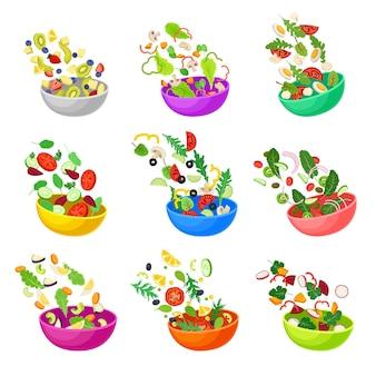 Set di ciotole multicolori con verdure tritate