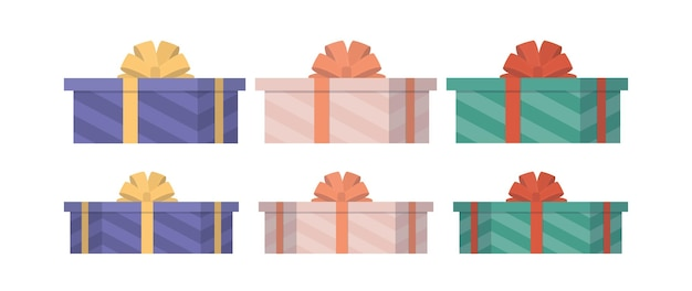 Set di regali multicolori in uno stile piatto. scatole regalo. adatto per disegni sul tema di capodanno, compleanno o san valentino. isolato. vettore.