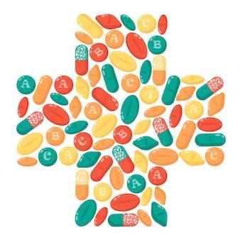 Set di multi pillole colorate isolato su bianco