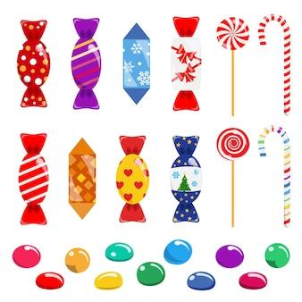 Set di caramelle multicolori, lecca-lecca e dolci