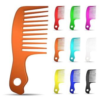 Set di spazzole per capelli multicolori su sfondo bianco
