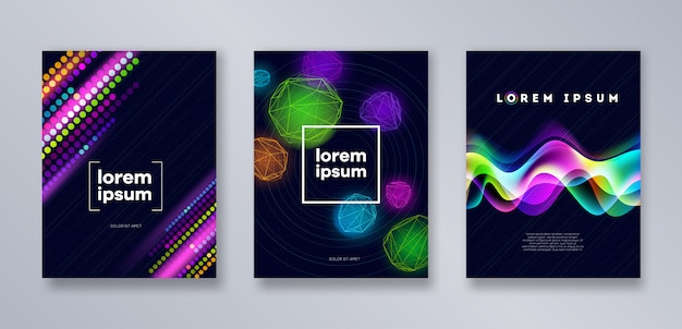 Set di modello di copertine moderne multicolore. disegno astratto universale