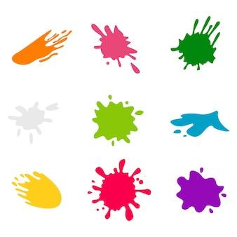Set di spruzzi di vernice multicolore. spruzzi di vernice impostato per l'uso nel design.