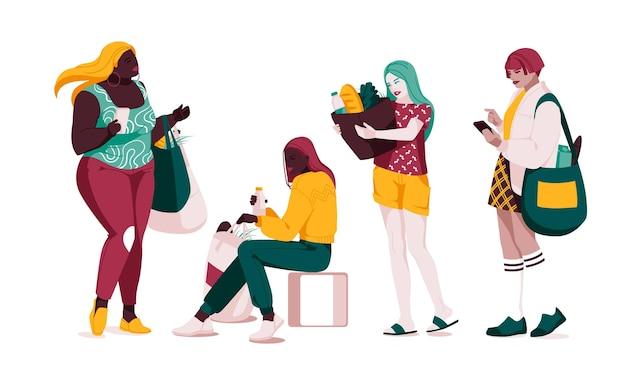 Insieme di persone multietniche che parlano o parlano raccolta di coppie in chat con fumetti uomini e donne che incontrano dialoghi tra personaggi illustrazione vettoriale piatto isolato su bianco