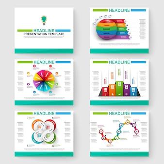 Set di infografica di presentazione multiuso per modelli powerpoint e business vettoriale