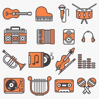 Set di illustrazione vettoriale di strumenti musicali adatto per icona o logo