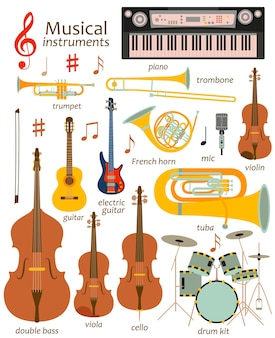 Set di strumenti musicali isolati su bianco
