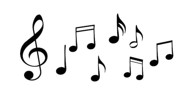 Set di note musicali. elementi di sottofondo musicale. note musicali. canzone, melodia o melodia - icona vettoriale per app musicali e siti web