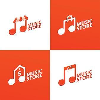 Imposta il vettore premium del modello di logo del negozio di musica