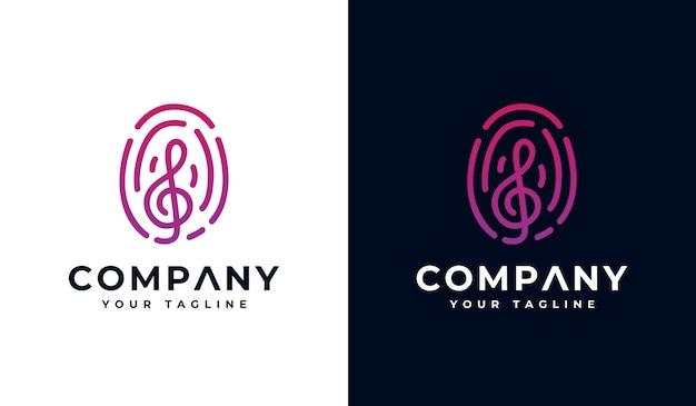 Set di musica con design creativo del logo dell'impronta digitale per tutti gli usi