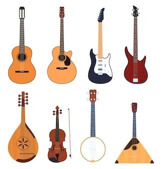 Set di strumenti musicali, strumenti musicali a corda, strumenti musicali classici, chitarre, strumenti musicali nazionali.