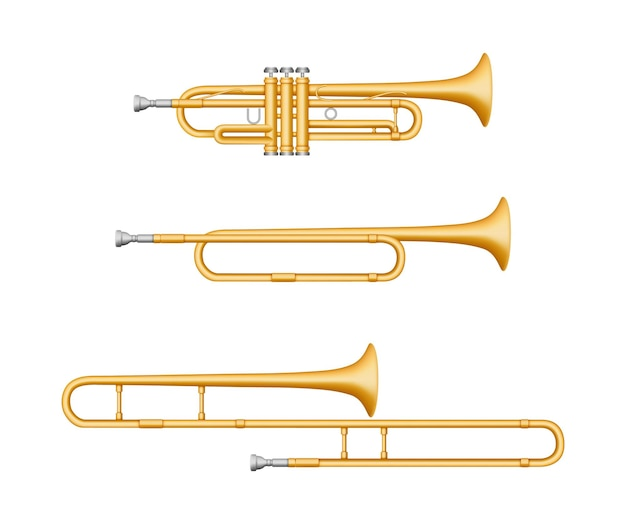 Set di strumenti musicali trombone, tromba, oboe.