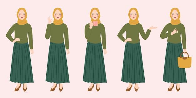 Set di personaggio femminile musulmano indossare l'hijab