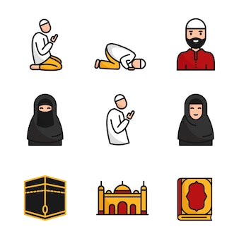 Un set di icone piatte musulmane