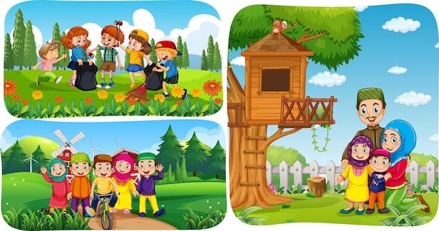 Set di personaggi dei cartoni animati di persone musulmane in scene diverse
