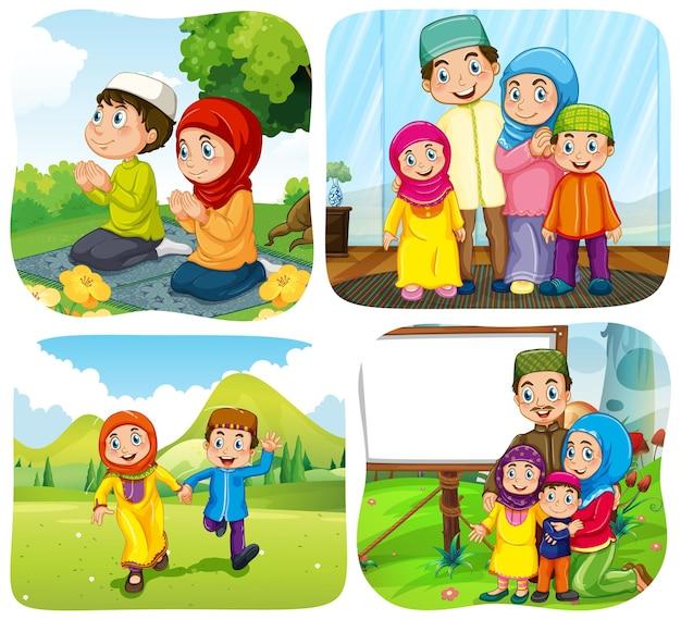 Set di personaggi dei cartoni animati musulmani in diverse scene
