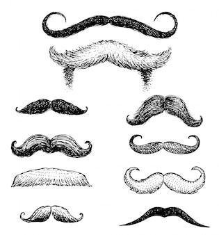 Set di baffi e barba divertente di uomini, hipster e barbiere retrò o parrucchiere su sfondo trasparente.