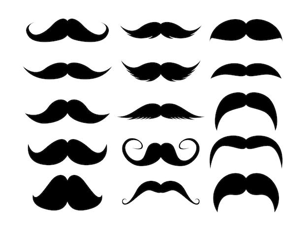 Set di baffi. siluetta nera dei baffi dell'uomo adulto. illustrazione isolati su sfondo bianco