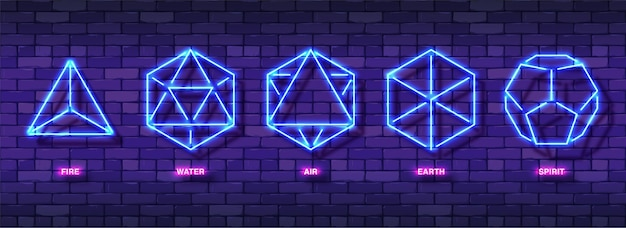 Set di simboli colorati al neon esoterici mistici. cinque solidi platonici ideali minimi.