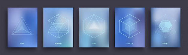 Set di manifesti esoterici mistici. disegno del modello di copertine di geometria sacra. cinque solidi platonici ideali minimi.