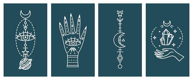 Set di illustrazioni astrologiche mistiche