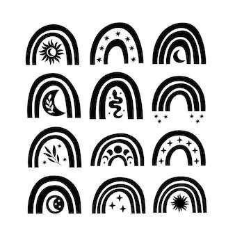 Set di mistico arcobaleno nero isolato su bianco