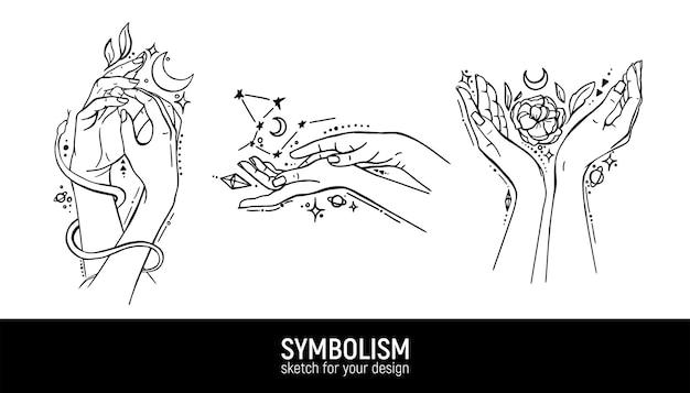 Set di composizioni mistiche con le mani