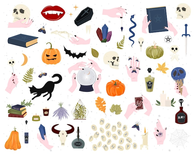 Insieme di elementi mistici per la festa di halloween.