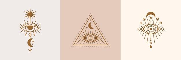 Set di occhi mistici, icone del sole e della luna in uno stile lineare minimale di tendenza. illustrazione isoterica vettoriale per stampe di t-shirt, poster boho, copertine, loghi e tatuaggi.