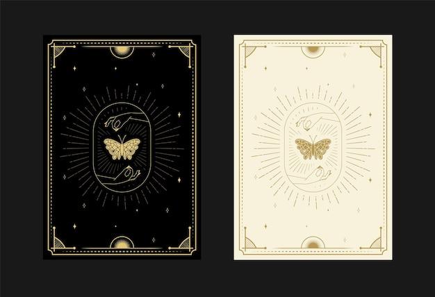 Set di carte dei tarocchi mistici alchemici simboli scarabocchi incisione di stelle falena farfalla cristalli
