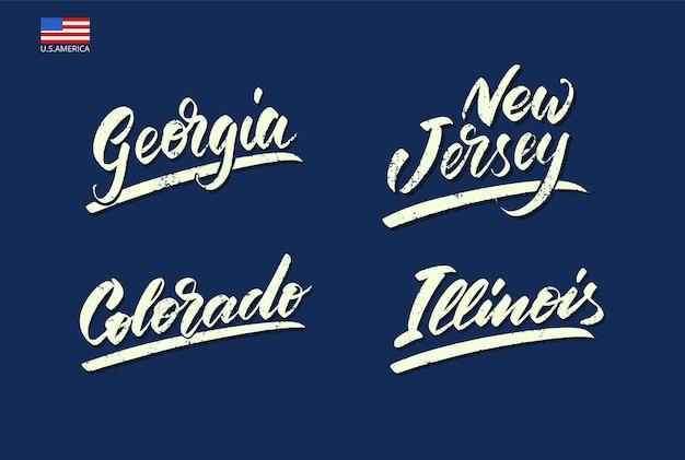 Insieme dei nomi degli stati d'america scritti con un pennello. illustrazione vettoriale