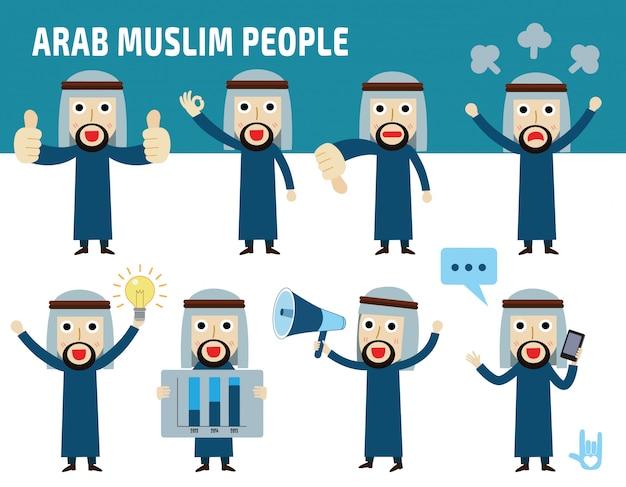 Impostare la differenza di nazionalità pose dell'uomo d'affari arabo.