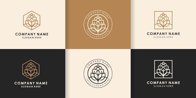 Set di logo della linea di luppolo di birra naturale, fiore di luppolo