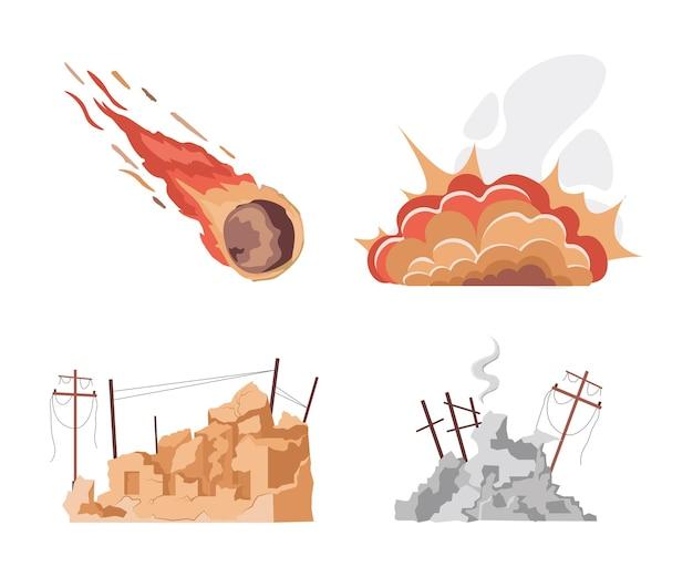 Insieme delle illustrazioni piane di vettore di disastro naturale isolate su white