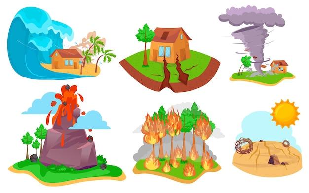 Insieme di disastri naturali. illustrazione piana del fumetto colorato