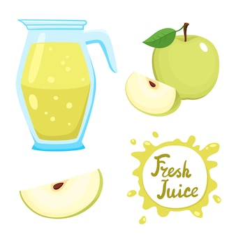 Set di succo di mela fresco naturale in vaso e illustrazione di mele verdi
